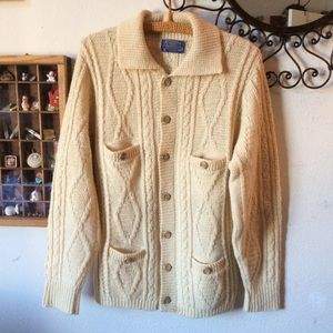Vintage Pendleton Cable Knit Cardigan Sweater